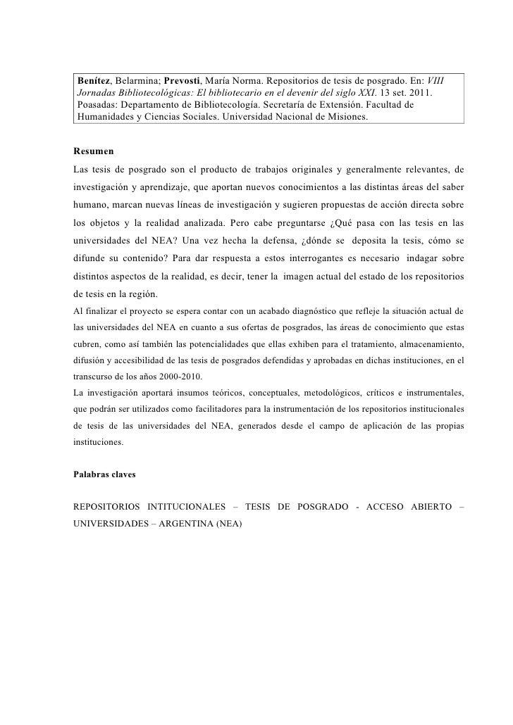 Repositorios de tesis de posgrado