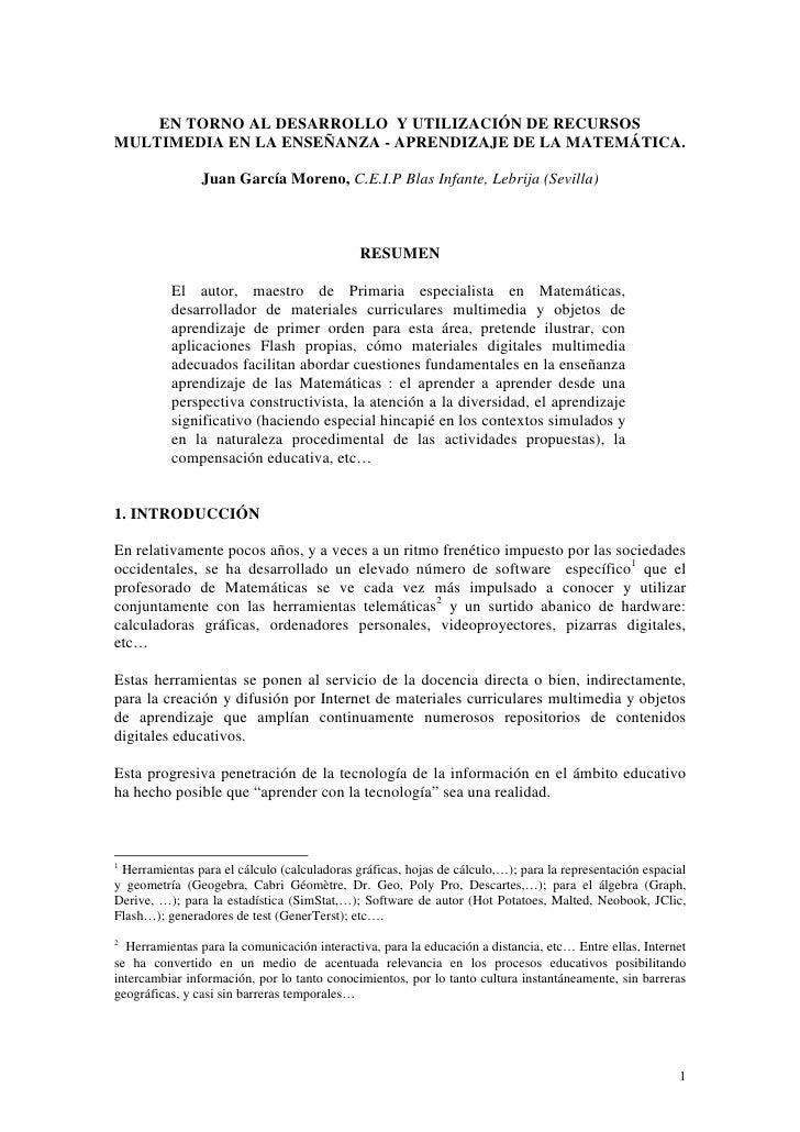 EN TORNO AL DESARROLLO Y UTILIZACIÓN DE RECURSOS MULTIMEDIA EN LA ENSEÑANZA - APRENDIZAJE DE LA MATEMÁTICA.               ...