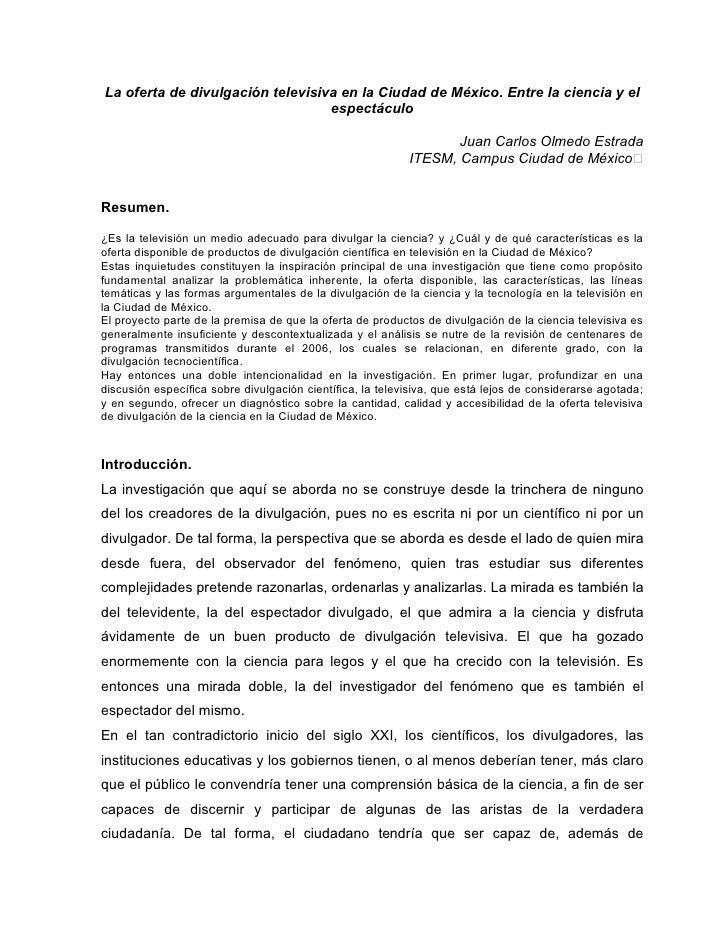 La oferta de divulgación televisiva en la Ciudad de México. Entre la ciencia y el                                  espectá...