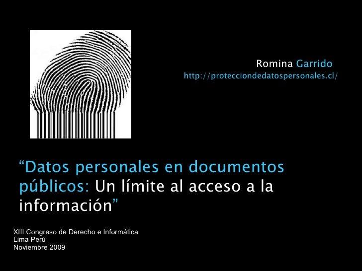 """"""" Datos personales en documentos públicos:  Un límite al acceso a la información """" XIII Congreso de Derecho e Informática ..."""