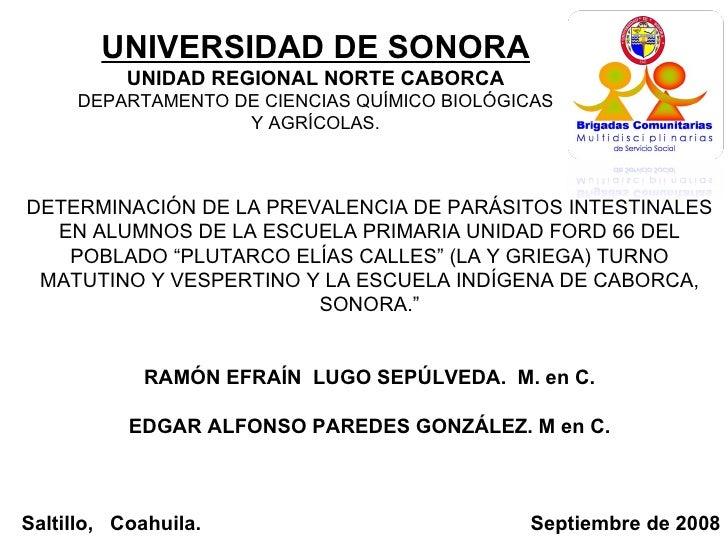 """DETERMINACIÓN DE LA PREVALENCIA DE PARÁSITOS INTESTINALES EN ALUMNOS DE LA ESCUELA PRIMARIA UNIDAD FORD 66 DEL POBLADO """"PL..."""