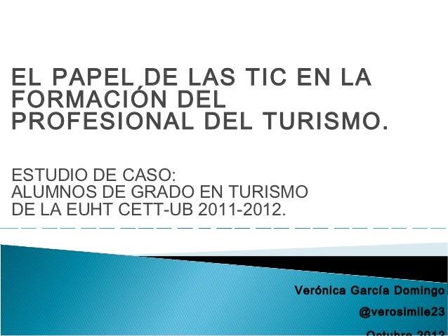 EL PAPEL DE LAS TIC EN LA FORMACIÓN DEL PROFESIONAL DEL TURISMO. PONENCIA TURITEC 2012.
