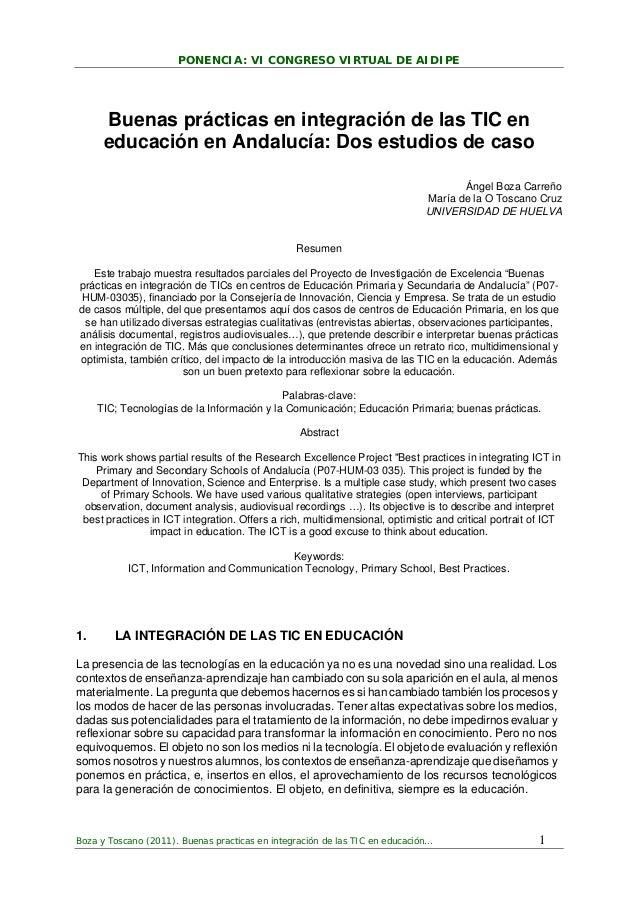PONENCIA: VI CONGRESO VIRTUAL DE AIDIPE Boza y Toscano (2011). Buenas practicas en integración de las TIC en educación… 1 ...