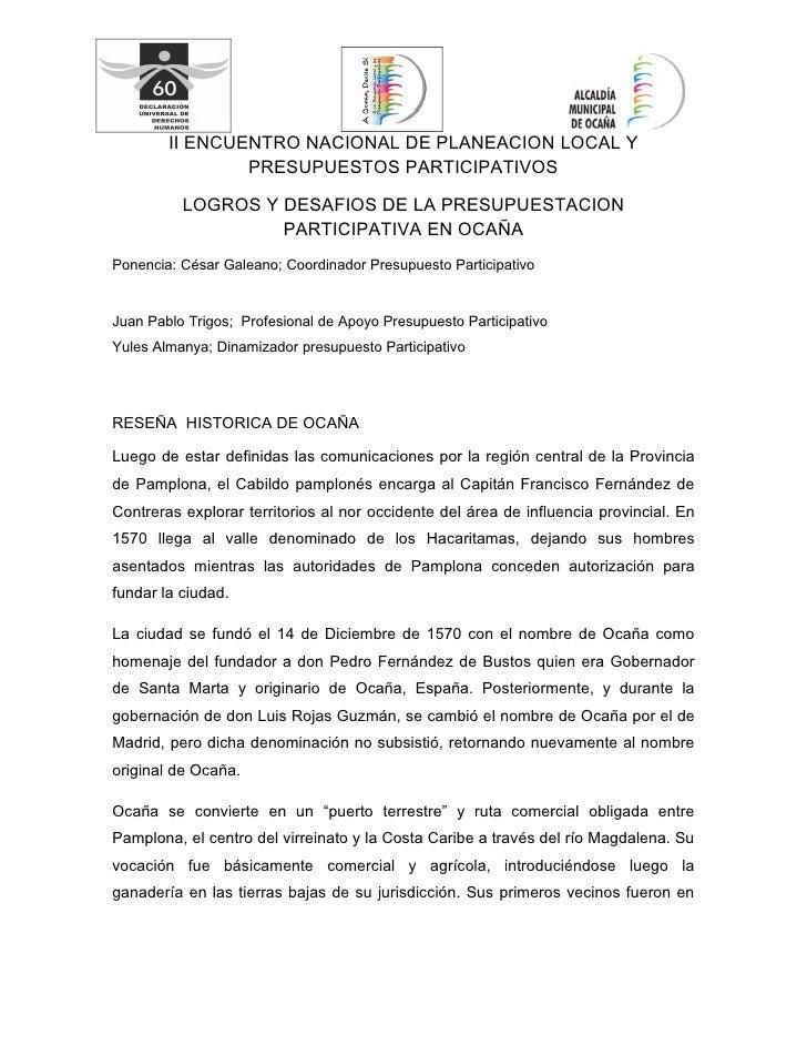 II ENCUENTRO NACIONAL DE PLANEACION LOCAL Y                 PRESUPUESTOS PARTICIPATIVOS            LOGROS Y DESAFIOS DE LA...