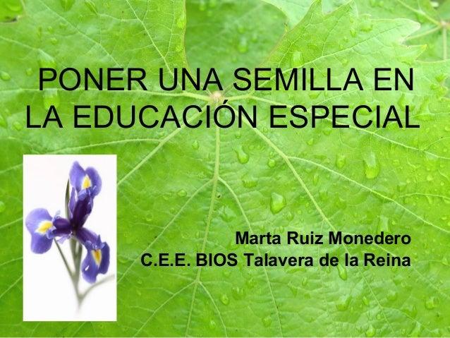 PONER UNA SEMILLA EN LA EDUCACIÓN ESPECIAL Marta Ruiz Monedero C.E.E. BIOS Talavera de la Reina