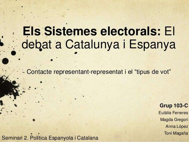 """Els Sistemes electorals: El        debat a Catalunya i Espanya          Contacte representant-representat i el """"tipus de v..."""