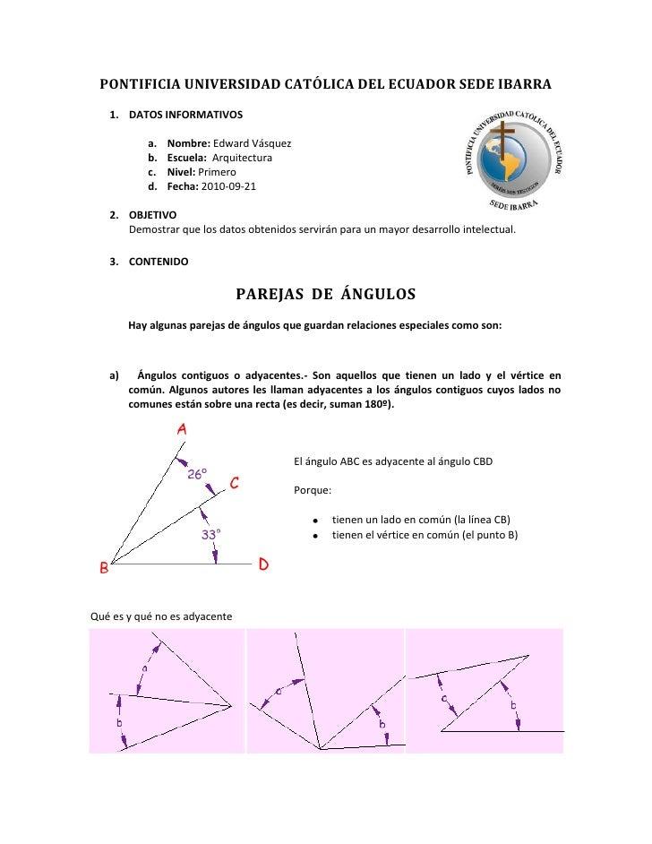 4453890424180PONTIFICIA UNIVERSIDAD CATÓLICA DEL ECUADOR SEDE IBARRA<br />DATOS INFORMATIVOS <br />Nombre: Edward Vásquez<...
