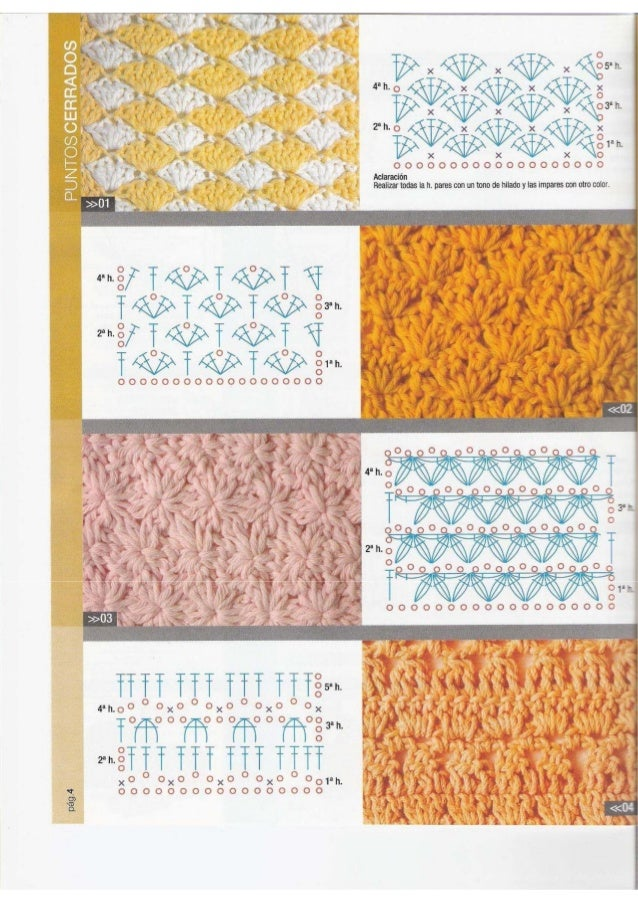 Pontos diversos de crochê - gráficos