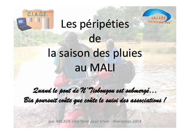 Les péripéties  de  la saison des pluies  au MALI  Quand le pont de N'Tiobougou est submergé…  Bia poursuit coûte que coût...