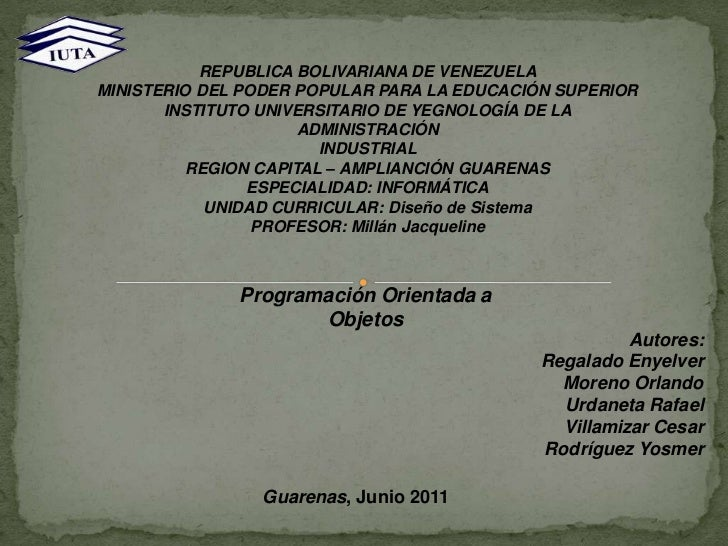 REPUBLICA BOLIVARIANA DE VENEZUELA<br />MINISTERIO DEL PODER POPULAR PARA LA EDUCACIÓN SUPERIOR<br />INSTITUTO UNIVERSITAR...