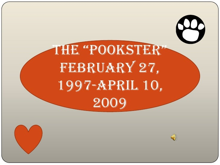 """the """"Pookster""""  February 27, 1997-April 10,      2009"""