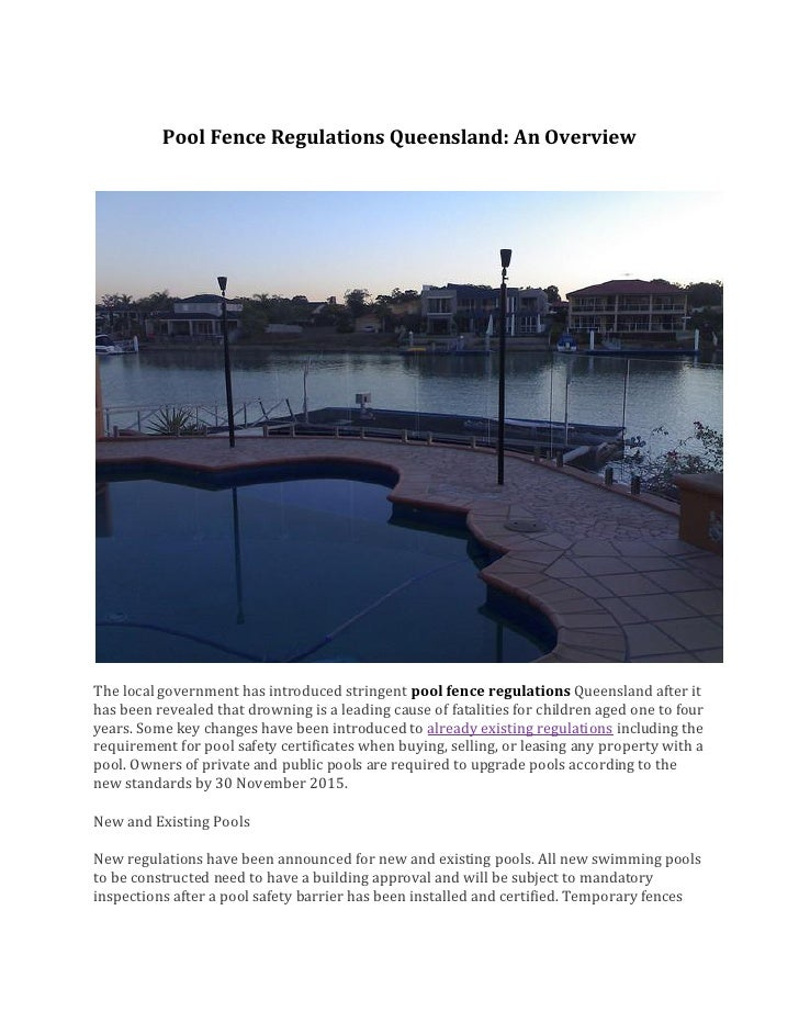 Pool fence regulations queensland for Pool fence design qld
