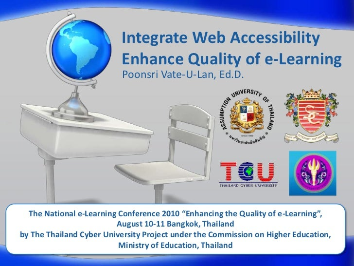 Integrate Web AccessibilityEnhance Quality of e-Learning<br />PoonsriVate-U-Lan, Ed.D.<br />The National e-Learning Confer...