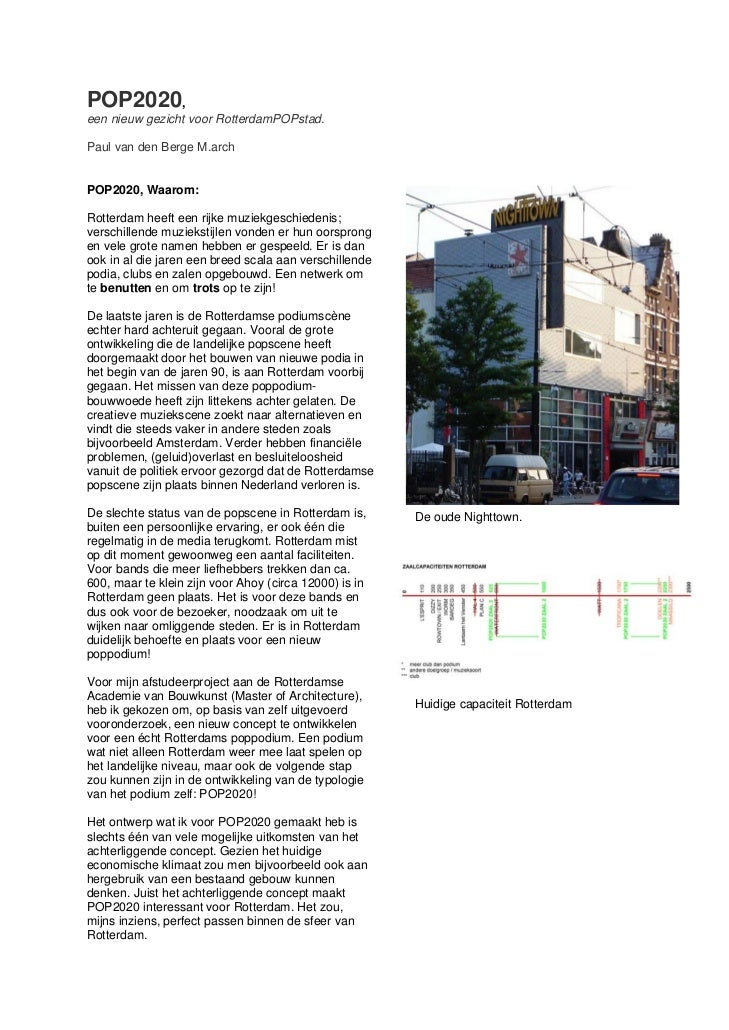 POP2020,een nieuw gezicht voor RotterdamPOPstad.Paul van den Berge M.archPOP2020, Waarom:Rotterdam heeft een rijke muziekg...