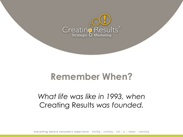 Remember When? What life was like in 1993, when Creating Results was founded.