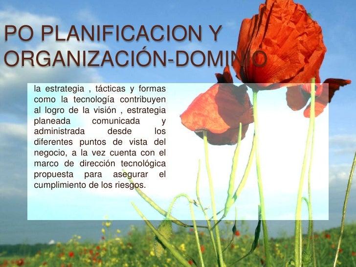 PO PLANIFICACION YORGANIZACIÓN-DOMINIO  la estrategia , tácticas y formas  como la tecnología contribuyen  al logro de la ...