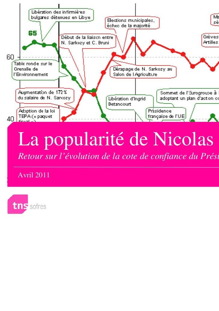 La popularité de Nicolas SarkozyRetour sur l'évolution de la cote de confiance du Président (2007-2011)Avril 2011