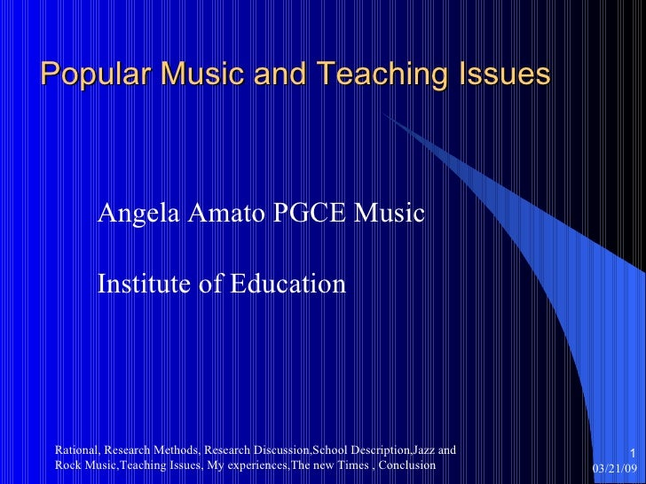 Popular Music And Teaching Issues