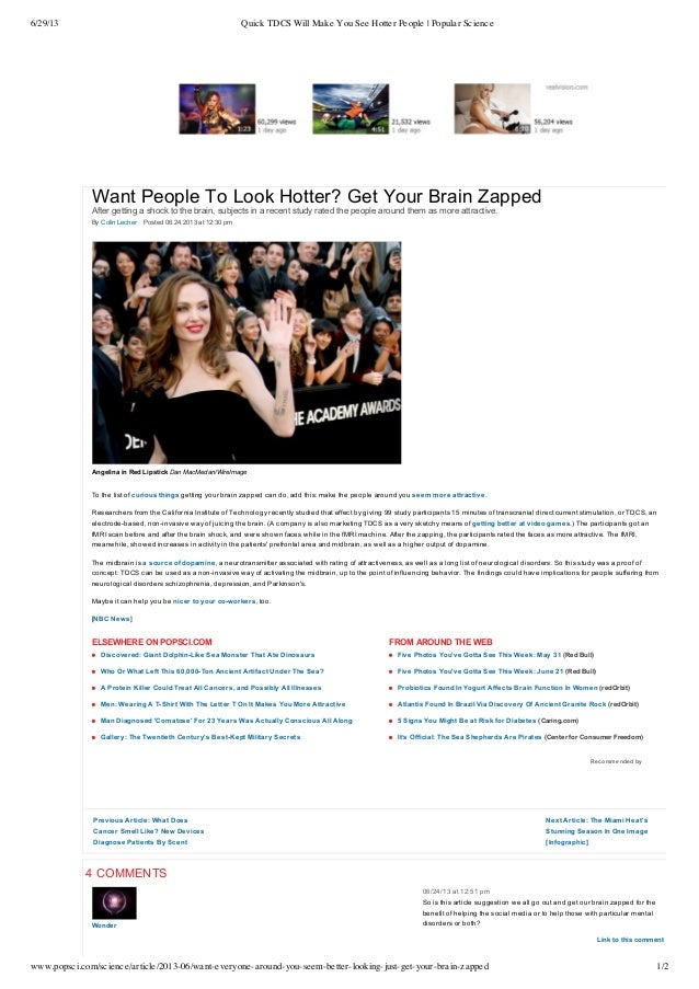 [Popular science] Want People To Look Hotter? Get Your Brain Zapped