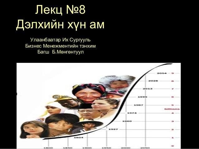 Лекц №8 Дэлхийн хүн ам Улаанбаатар Их Сургууль Бизнес Менежментийн тэнхим Багш Б.Мөнгөнтуул