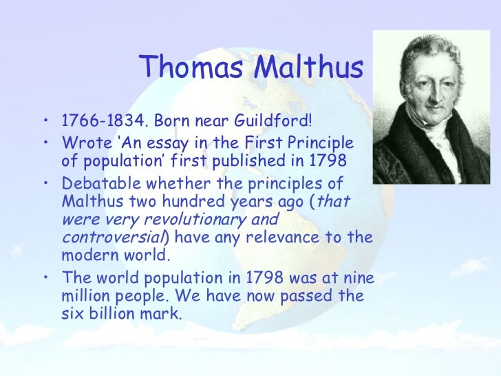an analysis of the theories of thomas malthus in the principle of population Malthus economic theory principle of theory -at least in the long-term analysis from malthus's theory of population theories of taxation thomas.