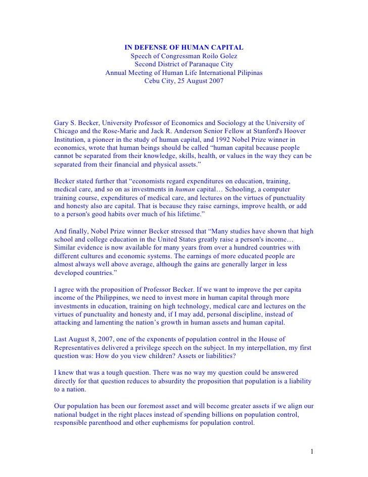 IN DEFENSE OF HUMAN CAPITAL                          Speech of Congressman Roilo Golez                           Second Di...