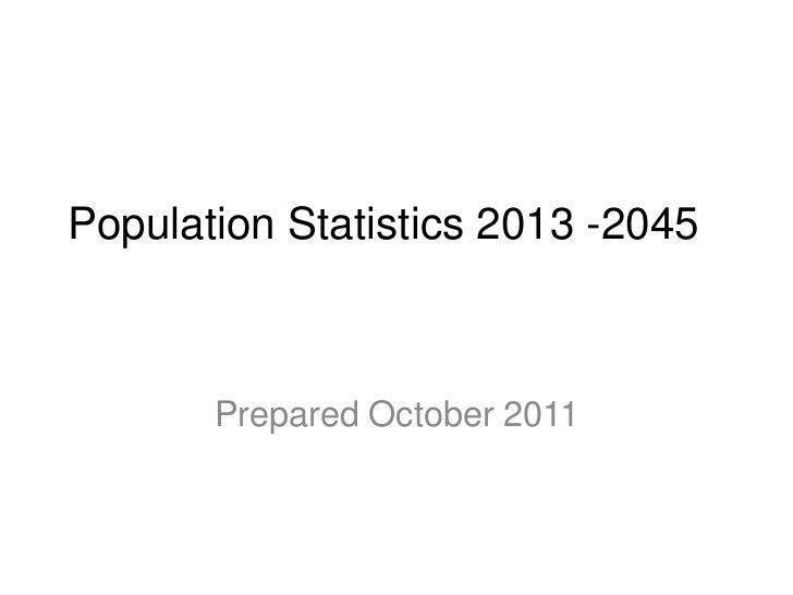 Population Statistics 2013 -2045       Prepared October 2011
