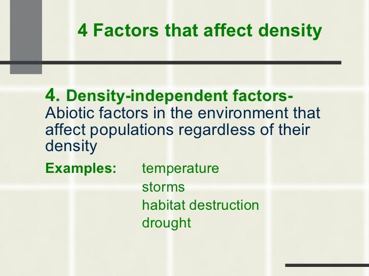 Density Independent Limiting Factor Examples Density-independent Factors