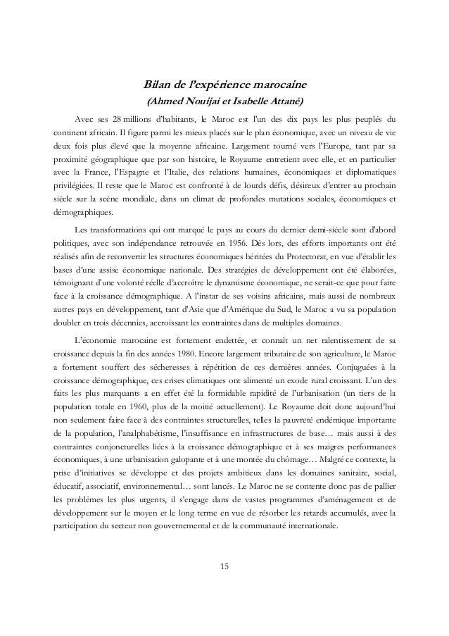 Bilan de l'expérience marocaine (Ahmed Nouijai et Isabelle Attané) Avec ses 28 millions d'habitants, le Maroc est l'un des...