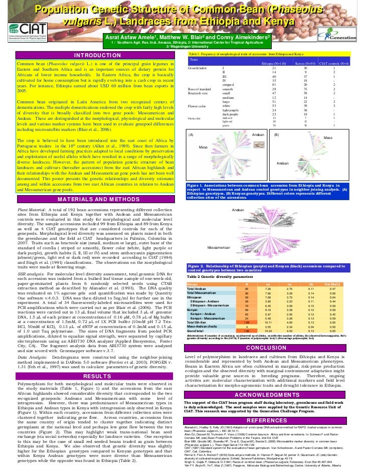 Poster10: Population genetic structure of common bean (Phaseolus vulgris L) Landraces  from Ethiopoia and Kenya