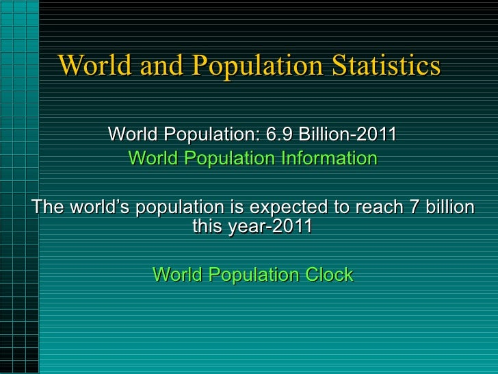 World and Population Statistics World Population: 6.9 Billion-2011 World Population Information The world's population is ...