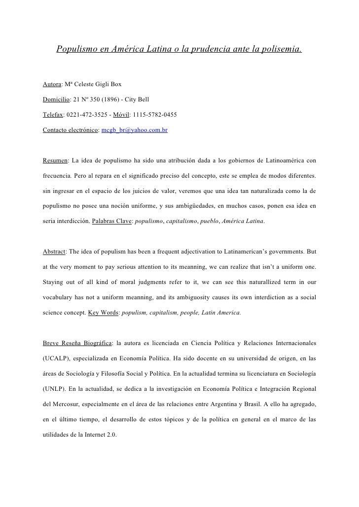 Populismo en América Latina o la Prudencia Ante La Polisemia - Lic.GigliBox