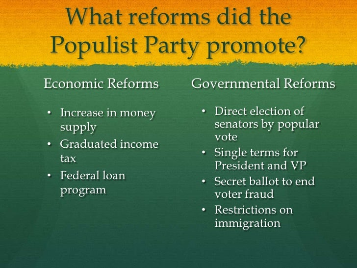 populist vs. progressive essay You have not saved any essays the populist movement was in the last decades of the nineteenth century, while the progressive movement was in the beginnings of the twentieth they occurred within fifty years of each other, and they were similar in their grievances both reforms had parties that.