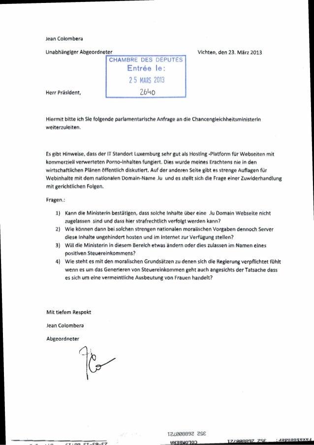 Jean ColomberaUnabhangiger AbgeordneterHerr Prasident,CHAMBRE DES DÉPUTÉSEntrée le:2 5 mî 2013Vichten, den 23. Marz 2013HI...