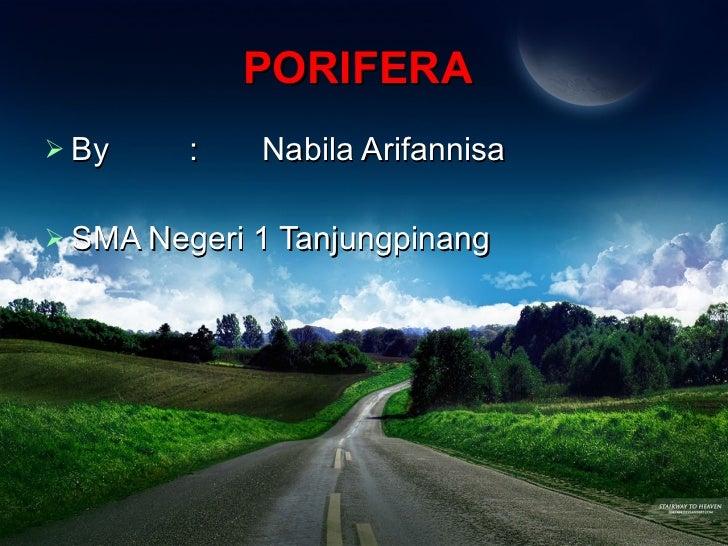 PORIFERA   <ul><li>By : Nabila Arifannisa </li></ul><ul><li>SMA Negeri 1 Tanjungpinang </li></ul>