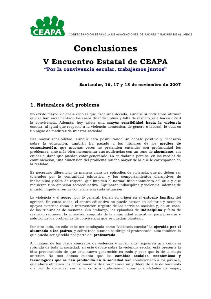 CONFEDERACIÓN ESPAÑOLA DE ASOCIACIONES DE PADRES Y MADRES DE ALUMNOS                              Conclusiones        V En...