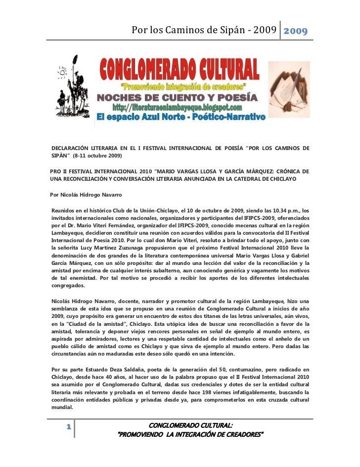 """Por los Caminos de Sipán - 2009 2009DECLARACIÓN LITERARIA EN EL I FESTIVAL INTERNACIONAL DE POESÍA """"POR LOS CAMINOS DESIPÀ..."""