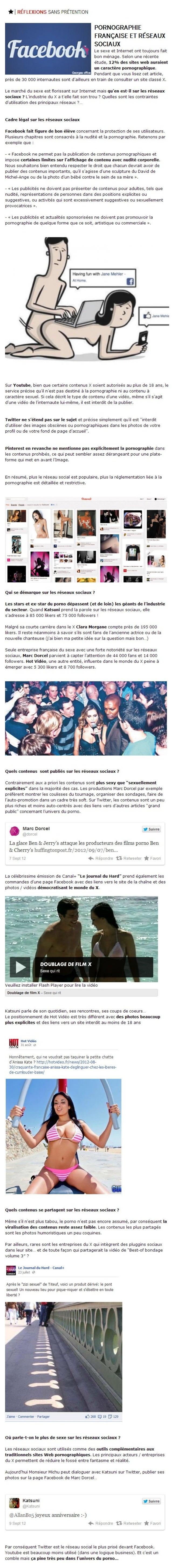 Pornographie française et réseaux sociaux