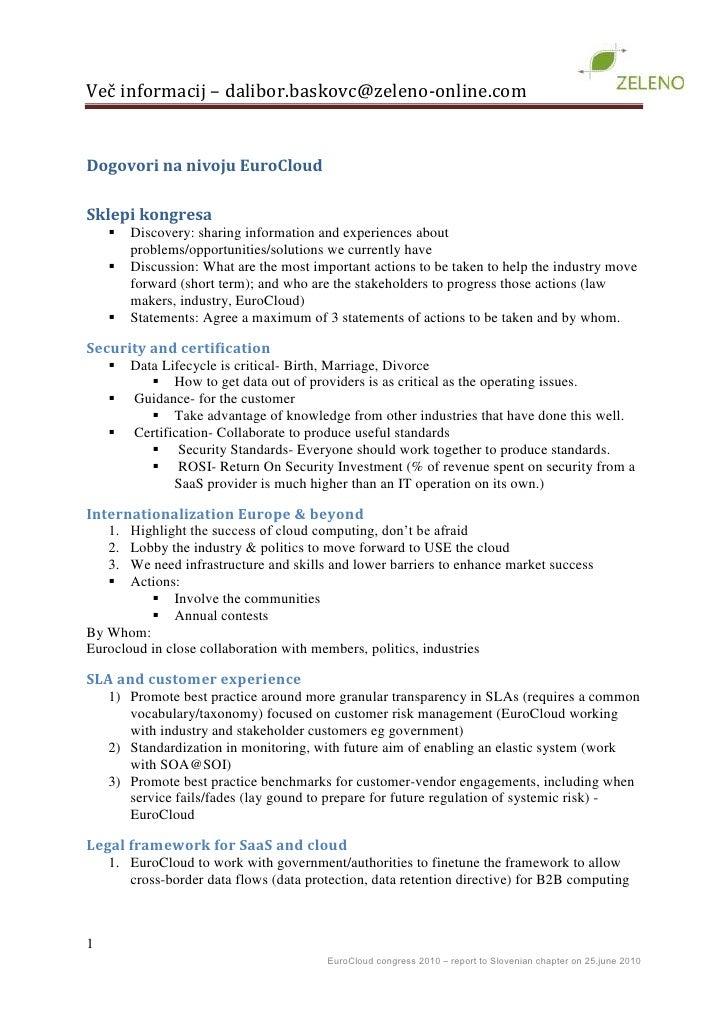 Dogovori na nivoju EuroCloud<br />Sklepi kongresa<br />Discovery: sharing information and experiences about problems/oppor...