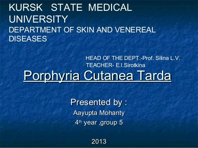 KURSK STATE MEDICAL UNIVERSITY  DEPARTMENT OF SKIN AND VENEREAL DISEASES HEAD OF THE DEPT.-Prof. Silina L.V. TEACHER- E.I....
