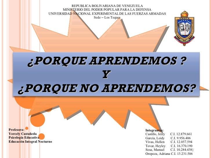 Integrantes: Castillo, Jetzy  C.I. 12.879.661 García, Leidy  C.I. 9.956.406 Vivas, Hellen  C.I. 12.057.594 Tovar, Heyley  ...