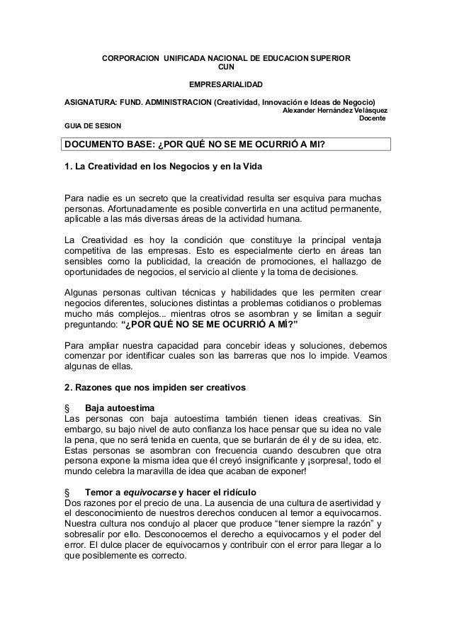 CORPORACION UNIFICADA NACIONAL DE EDUCACION SUPERIORCUNEMPRESARIALIDADASIGNATURA: FUND. ADMINISTRACION (Creatividad, Innov...
