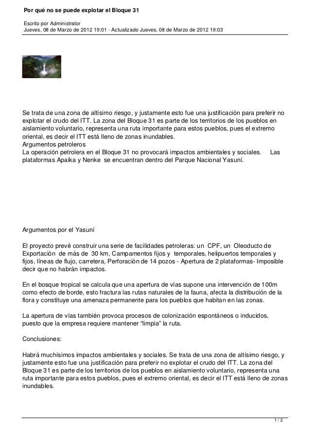 Por qué no se puede explotar el Bloque 31Escrito por AdministratorJueves, 08 de Marzo de 2012 19:01 - Actualizado Jueves, ...