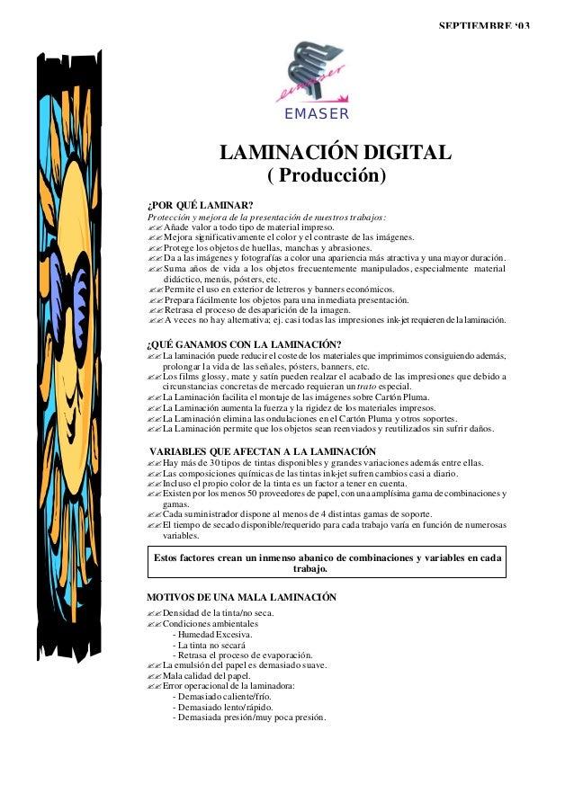 SEPTIEMBRE '03                                    EMASER                   LAMINACIÓN DIGITAL                      ( Produ...