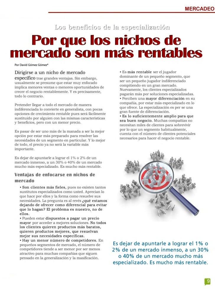 MERCADEO                          Los beneficios de la especialización  Por que los nichos de mercado son más rentablesPor...