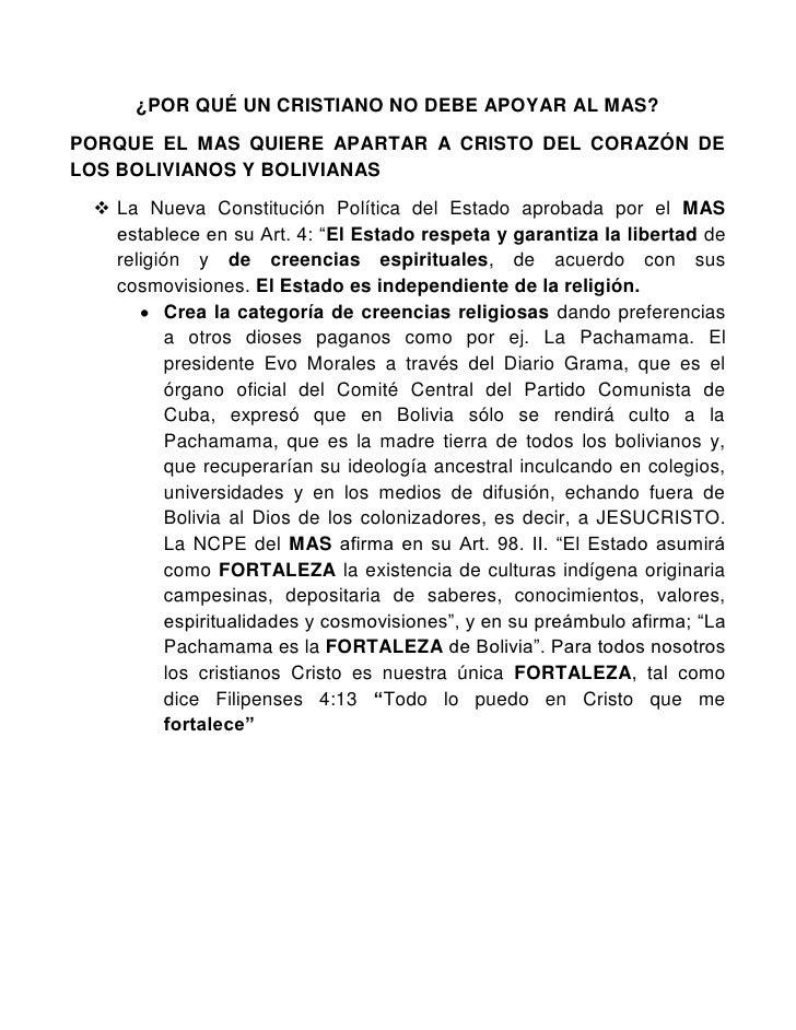 ¿POR QUÉ UN CRISTIANO NO DEBE APOYAR AL MAS?<br />PORQUE EL MAS QUIERE APARTAR A CRISTO DEL CORAZÓN DE LOS BOLIVIANOS Y BO...