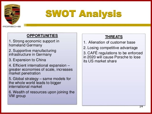 an analysis of the strengths weaknesses opportunities and threats swot of the volkswagen automobile  Bus 402 week 2 assignment - running head porsche group  weaknesses, opportunities, and threats (swot)  swot analysis strengths utilizing a swot analysis helps a.