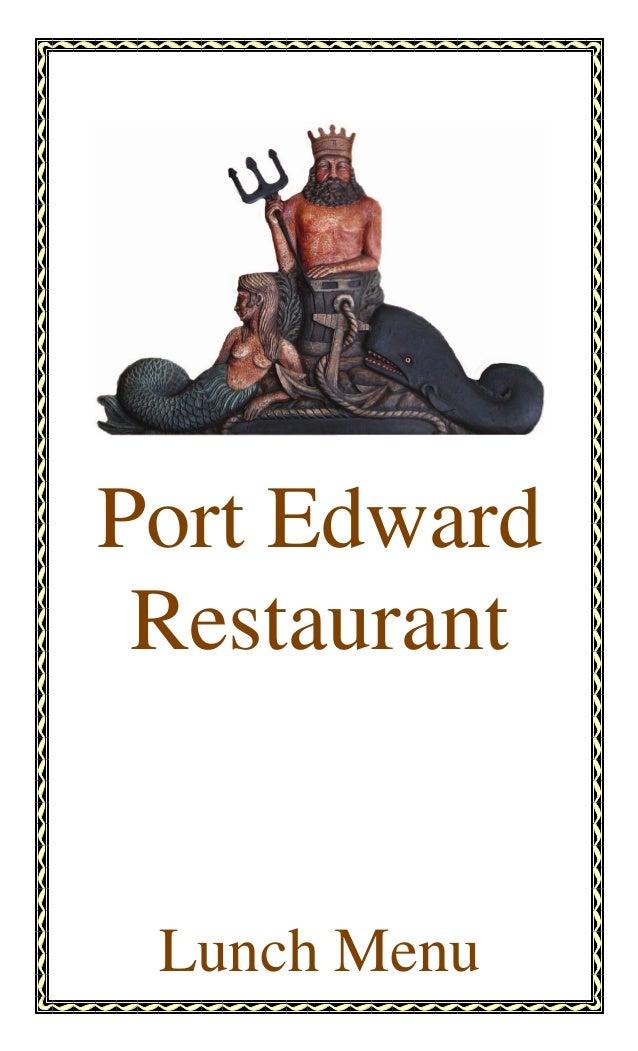 Port Edward Restaurant Lunch Menu