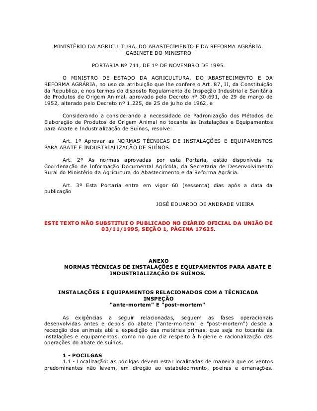 MINISTÉRIO DA AGRICULTURA, DO ABASTECIMENTO E DA REFORMA AGRÁRIA. GABINETE DO MINISTRO PORTARIA Nº 711, DE 1º DE NOVEMBRO ...