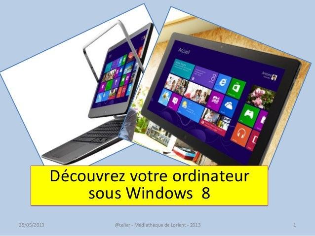 @telier - Médiathèque de Lorient - 2013 125/05/2013Découvrez votre ordinateursous Windows 8